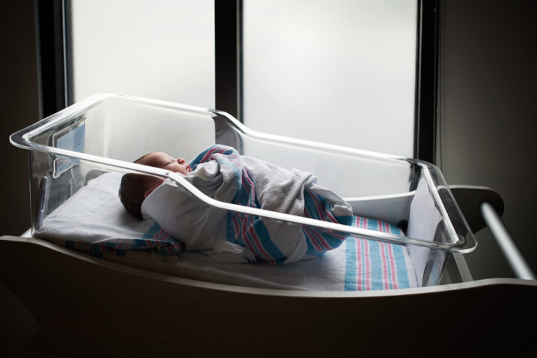 Newborn baby in hospital bassinet by window | Fresh 48 Pictures Mobile, AL