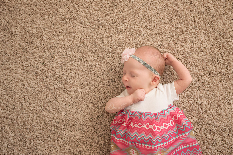 6 Week Baby Girl Stretching | Danielle Parker Photography | Mobile Family Photographer