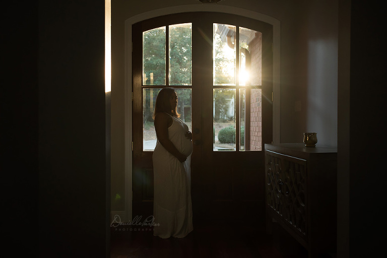 pregnancy silhouette | in-home maternity session | awaiting baby girl | Danielle Parker Photography | Maternity Photography Mobile