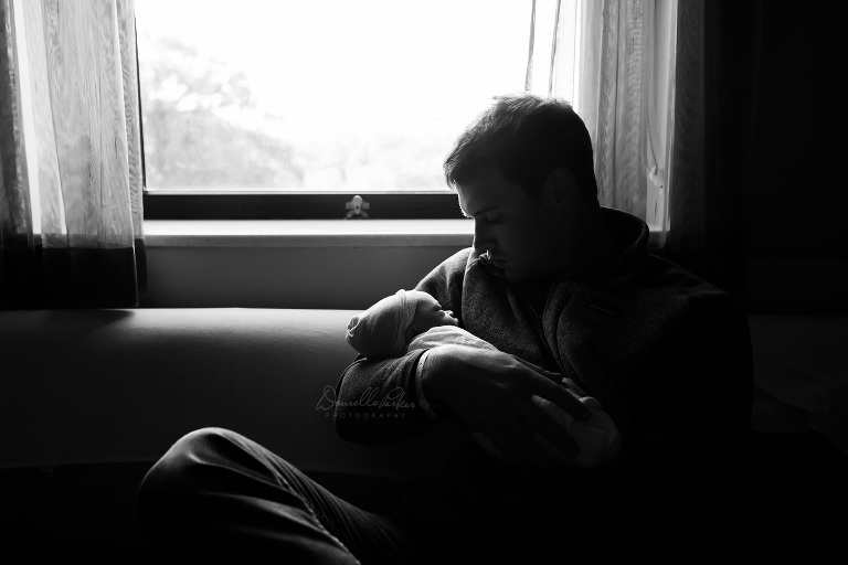 Father Holding Newborn Son in Hospital | First 48 Session | Danielle Parker Photography
