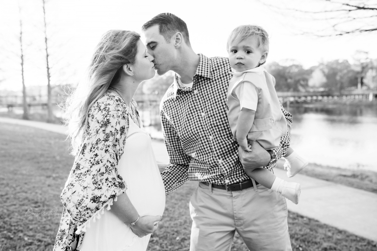 Black and white family photo | Expecting second son | Danielle Parker Photography