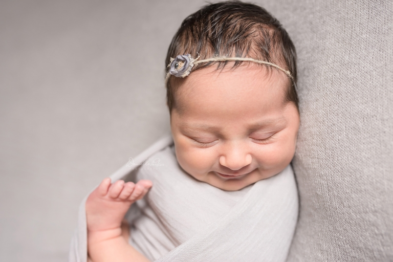 Smiling Dark Haired Newborn Girl | Mobile Newborn Photographer | Danielle Parker Photography
