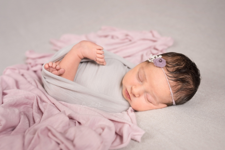 Posed Sleeping Baby Girl on Gray with Purple | Mobile Baby Photographer | Danielle Parker