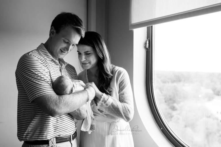 Black and White Picture of New Parents and Baby | Hospital Newborn Photos | Danielle Parker Photography