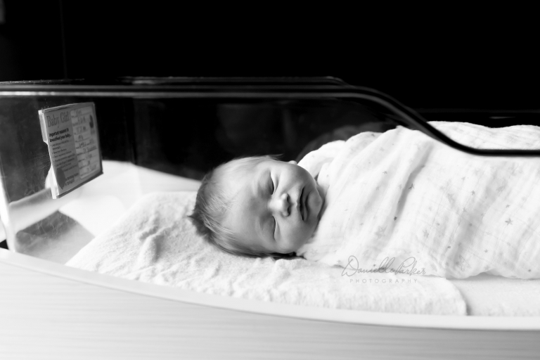 Newborn Girl in Hospital Bassinet | Fresh 48 Photography Mobile AL | Danielle Parker Photography